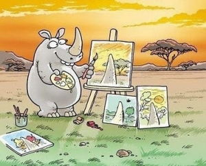 A Rhino painting is modeling